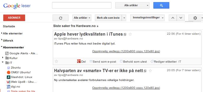 Fjern Google+-knapp fra Google Reader